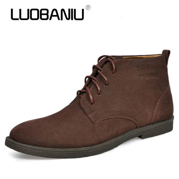 Brand Design Men Ankle Boots 2015 Autumn Winter Genuine ...