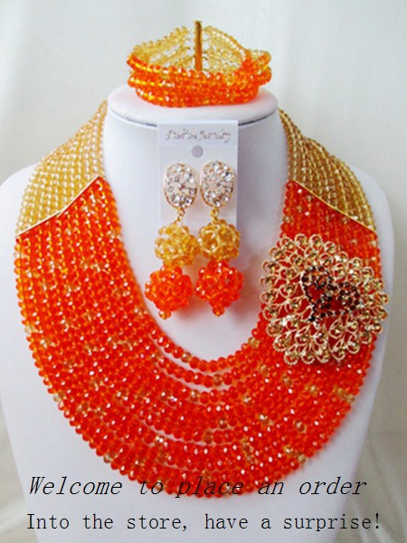 2015 Fashion Burnt Orange african crystal beads necklace set nigerian wedding african beads jewelry set Free shipping P-1279<br><br>Aliexpress
