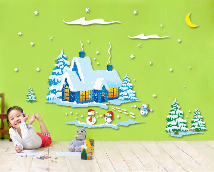 Free Shipping Wall Stickers Frosty The Snowman Poster Removable PVC WALL DECAL Christmas Room Decor Stickers AM9046(China (Mainland))