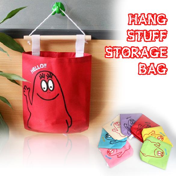 Free Shipping Multi-Color Cute Hang Up Storage Bag Wall Decorative Stuff Storage Organizer(China (Mainland))