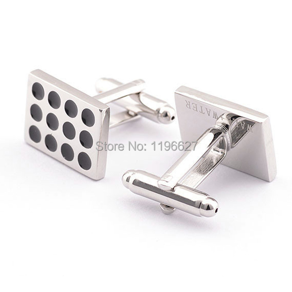 Men's Business Shirt Cufflinks Fashion Sample Square Black Polka Dot Silver Plated Classic Cuff links Gentlemen Essential Goods - xtopmall store