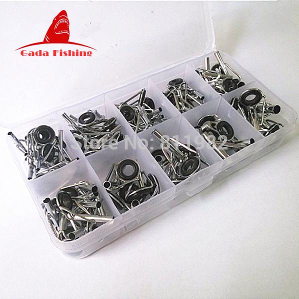 80pcs box telescopic fishing rod guide tip repair kit rod for Fishing rod eye repair