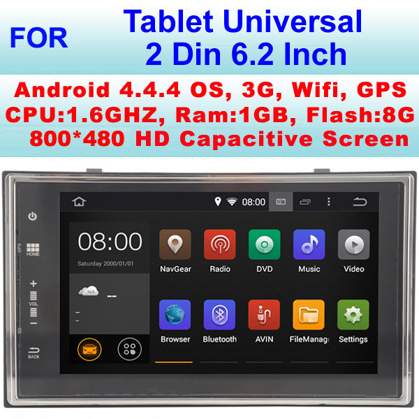 Universal 2 Din Tablet android Car GPS with android 4.4.4 system ,Support WiFi 3G Internet (No DVD Function)(China (Mainland))