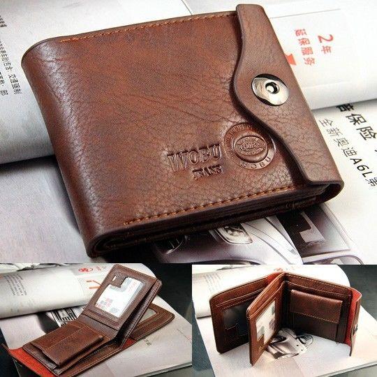 Bifold Wallet Men's Genuine Brown Credit/ID Card Holder Slim Purse Gift(China (Mainland))