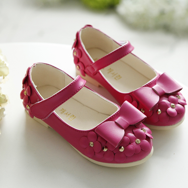 2016 Spring/Autumn Little Princess Comfortable bowknot Flower Girls Shoes Casual Shoes First Walking 4 Colors(China (Mainland))