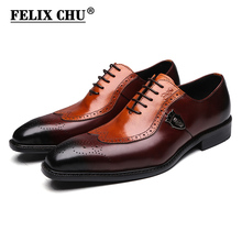 Buy FELIX CHU Italian Lace Men Genuine Leather Men Wedding Wingtip Brogue Formal Dress Party Office Brown Oxford Shoes 1815-01 for $65.17 in AliExpress store