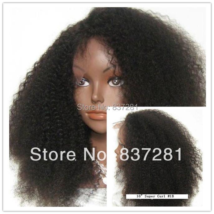 Brazilian Virgin Human Discount Hair #1b afro curl lace front wig black women - Flower hair factory store