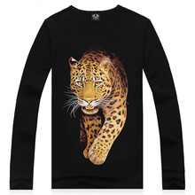 2015 Full New Arrival Fashion Autumn And Winter Animal 3d Tshirt Tiger Printing Leisure Men's Long Sleeve T Shirt Leopard Print