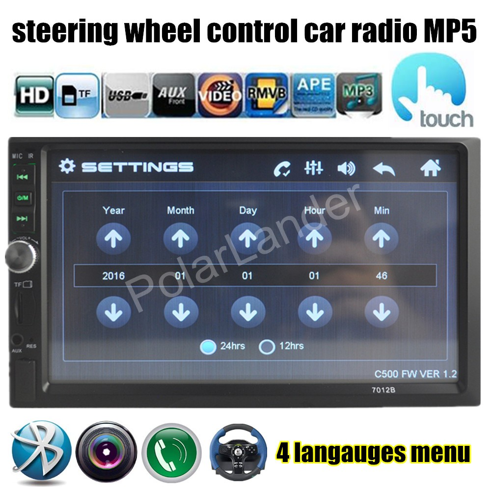 steering wheel control 7 inch HD 2 Din Car MP5 MP4 USB TF Aux IN Bluetooth FM Radio Car Audio touch screen reversing priority(China (Mainland))