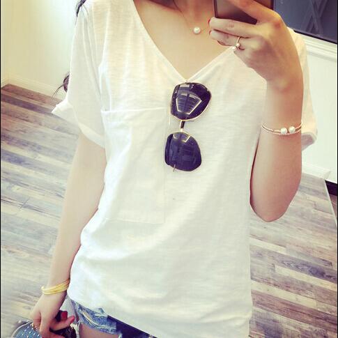 2016 женщин летняя футболка длинные широкий с коротким рукавом высокое качество v-образным вырезом сплошной цвет бесплатная доставка
