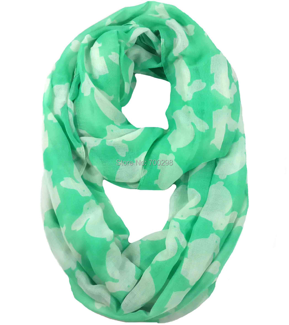 Rabbit Bunny Animal Print Infinity Loop Scarf Snood Women's Gift Winter Accessories, Free Shipping(China (Mainland))