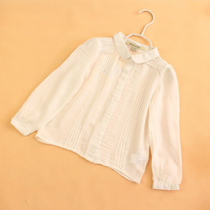 Free Shipping Baby Girls Cotton White Blouses Girls Long