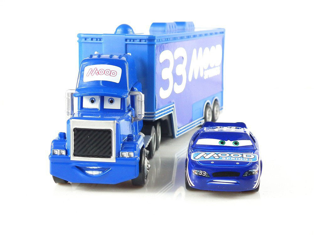 Hot Sale Pixar Cars MOOD SPRINGS #33 Racer & Mack Truck set Loose Rare Diecast 1:55 Metal Toys(China (Mainland))