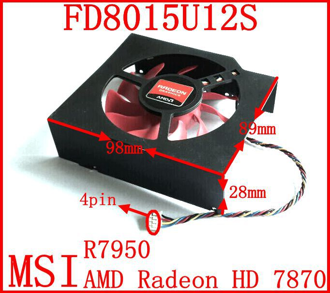 Free shipping Firstd FD8015U12S 98x89x28mm 12V 0.5A Video Card Cooler Fan For MSI R7950 AMD Radeon HD 7870 Graphics card fan(China (Mainland))