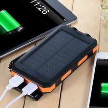 2016 Портативный Водонепроницаемый 10000 мАч Солнечное Зарядное Устройство Dual USB Порты внешняя Батарея Солнечная Энергия Банк Пакеты Для Samsung Смартфонов