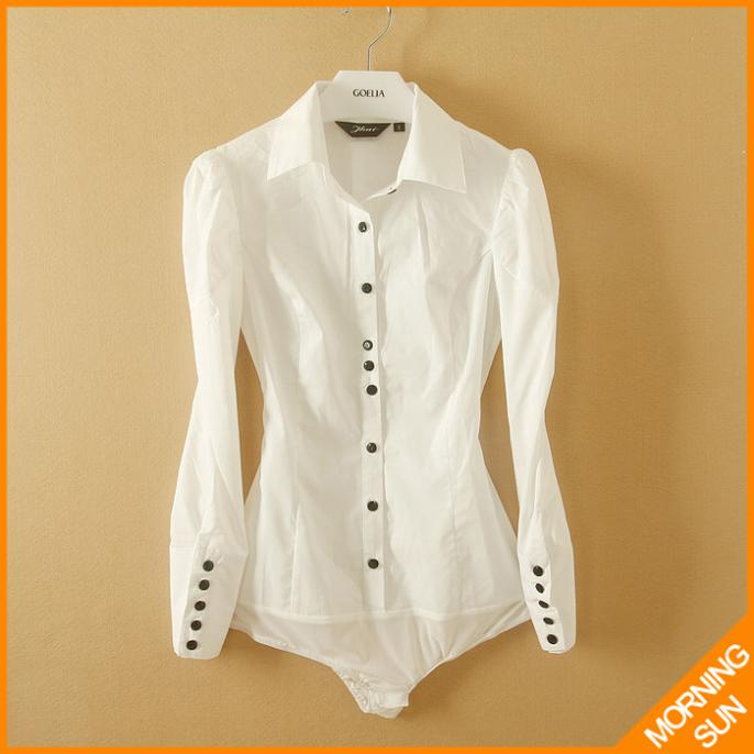 woman brand new 2014 office blouse summer fashionable clothes black botton long sleeve white color body shirt #4023 - MORNING STAR's store