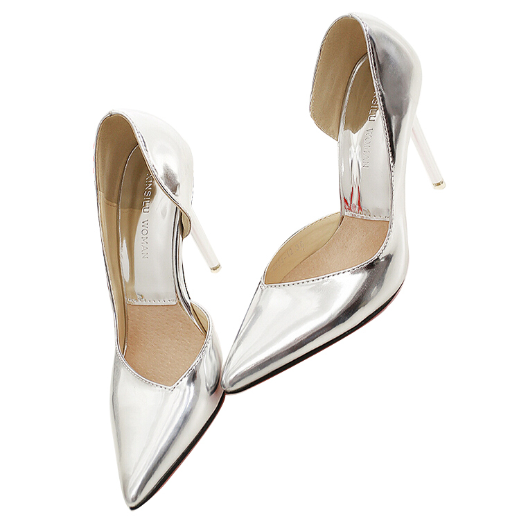 European Basic Style Women Pumps 2015 Fashion Classic Ladies Shoes Women Thin High Heel Pointed Shoes Glod Silver Sexy Shoes(China (Mainland))
