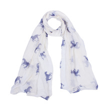New Design Women Running Horse Print Long Scarf Polyest Shawl Wrap Stole Voile 180*60cm(China (Mainland))