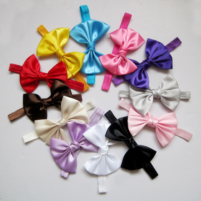 2014 wholesale baby satin ribbon bowsboutique hair bow hairbow headband flower girls hair accessories 100 pcs/lot(China (Mainland))