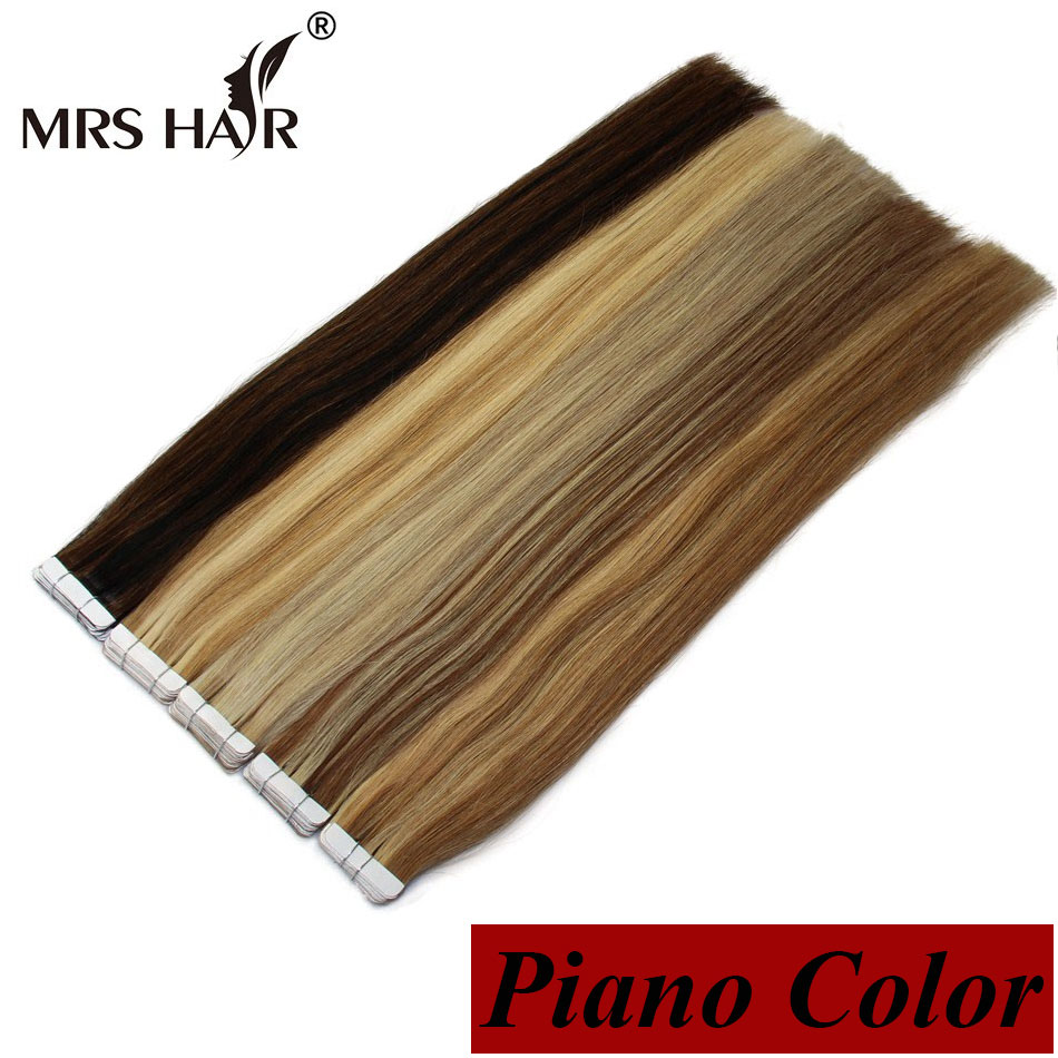 Piano Color Remy Tape Hair Extensions Weft Straight 2Invisable 22 inch Seamless Skin - MrsHair store