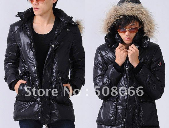 2011 Hot Sale Fashion Mens Long down jacket Men Jackets Mens down coat in Blue S M L XL XXL