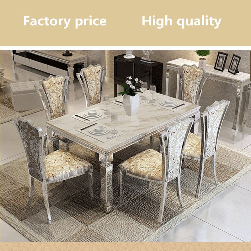 Contemporary modern dining set stainless steel marble top for Stainless steel dining table