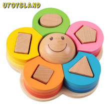 UTOYSLAND New kids toys Shape Sorting Puzzle Board Flower Geometric Nesting Stacker Baby Toddler Wooden Toys for children(China (Mainland))