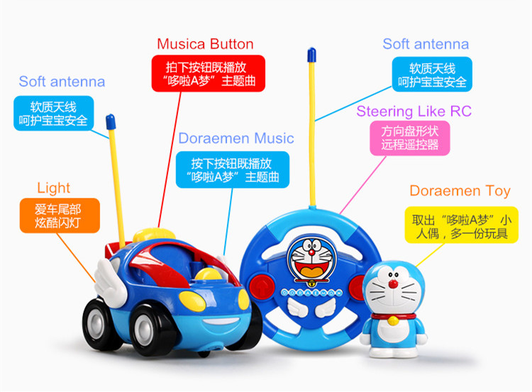Remote Control electric resistance clockwork toys, Doraeman RC car children's toy car Free Shipping