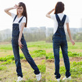 Free Shipping New Women s Denim Overalls Suspenders Jeans Rompers Jumpsuit Pants Womens Deep Blue Jumpsuit