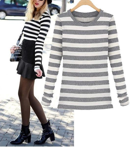 Black and white gray striped long sleeve 2015 women fall for Black and white striped long sleeve shirt women