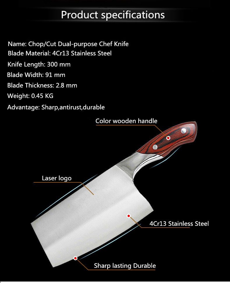 Buy Free Shipping LZB 4Cr13 Stainless Steel Knife Chop Bone Cut Meat Vegetable Dual-purpose Kitchen Knife Cleaver Slicing Knife cheap