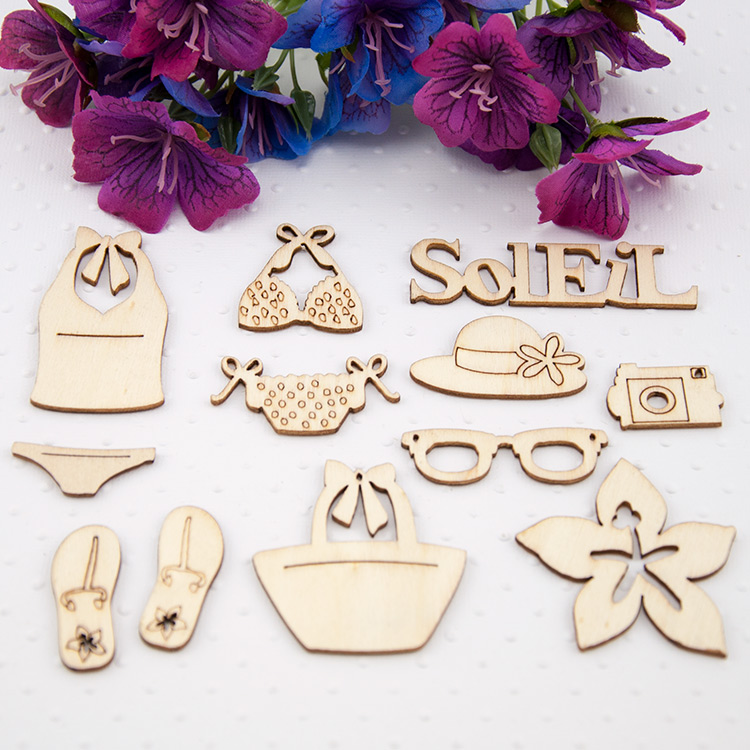 NEW ARRIVAL LASER WOODEN CARVING CRAFT SCRAPBOOKING ACCESSORIES 12PCS/PACK(China (Mainland))