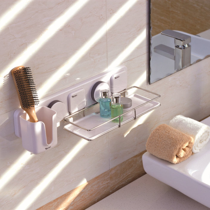 Strong Suction Multi Function Bathroom Shelf Stainless
