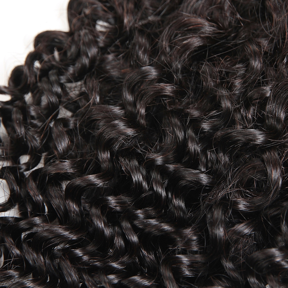 HCDIVA Hair Products No Shedding Kinky Curly Hair Lace Closure 8″ to 18″ 4×4 Swiss Lace Human Hair Closure Non-Remy Hair