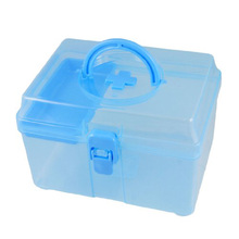 SZS Hot Blue Clear Plastic Family Healthy Box Medicine Chest Pill First Aid Case(China (Mainland))
