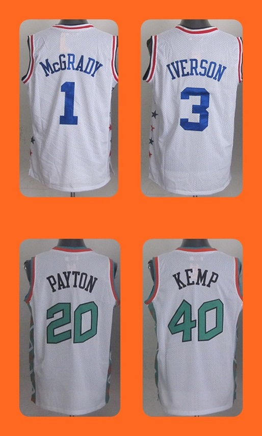 product #20 Gary Payton #40 Shawn Kem  #1 Tracy McGrady #3 Allen Iverson  White  Men's Basketball Jersey Top Quality Free Shipping Shirt