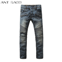 2017 Ant rabbi New Men's Distressed Embellished Ripped Stretch Moto Pants Blue Biker Jeans Slim Trousers 7 colors Size 28-42(China)