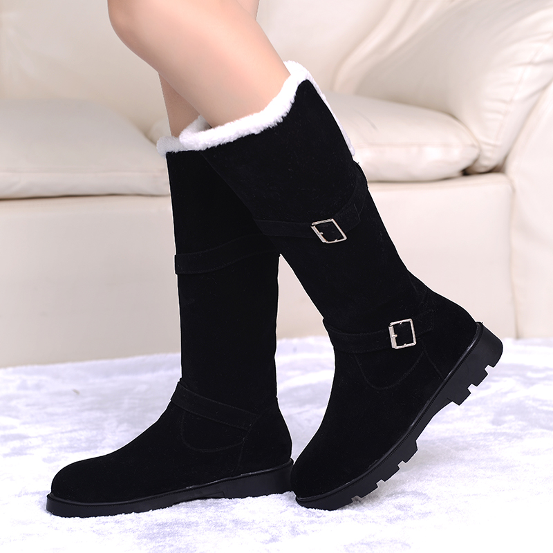 2 Styles 2016 Fashion Buckle Fur Snow Boots low square heel Snow Shoes Woman Boots Winter Shoes Warm Winter Boots big size 34-43