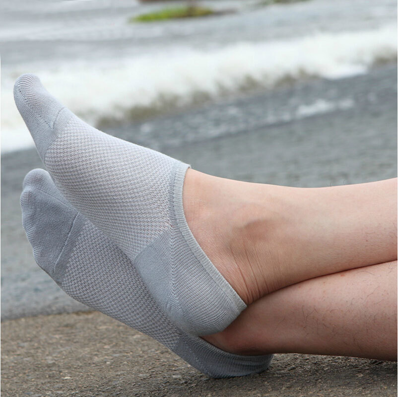 7 pairs/lot men's invisible bamboo fiber cotton Socks net boat anti slip cheap high qualtiy new slipper summer man ankle sox(China (Mainland))