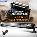 Oslamp 52 783W CREE Chips LED Light Bar Offroad Tri Row Combo Led Work Light 12v