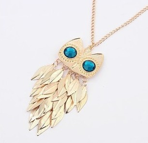 Vintage Jewelry Gold Plated Owl Leaf Pedants Neckalce Long Chains Women 2015 New Statement Collar Necklaces - Star WorLd LTD store
