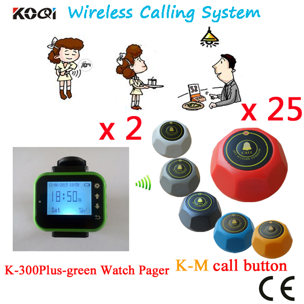 Wireless Waiter Server Paging System Watch Pager And Bell Call Button DHL/EMS Free Shipping(2 watch+25 table call button)(China (Mainland))