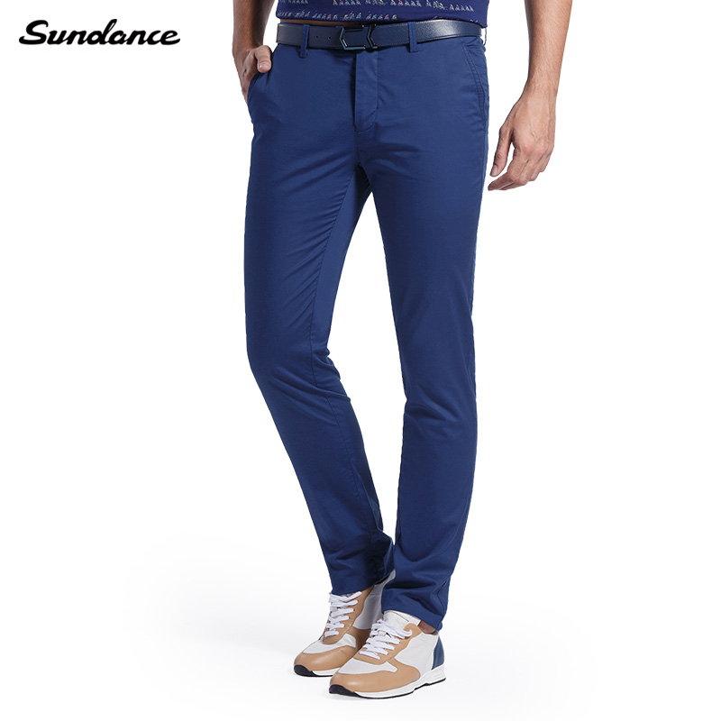 Spring 2016 New Mens Jewelry-blue Slim-Tapered Flat-Front Casual Pants Slight Elastic Mid-waist Zipper Fly Men Business Trousers(China (Mainland))