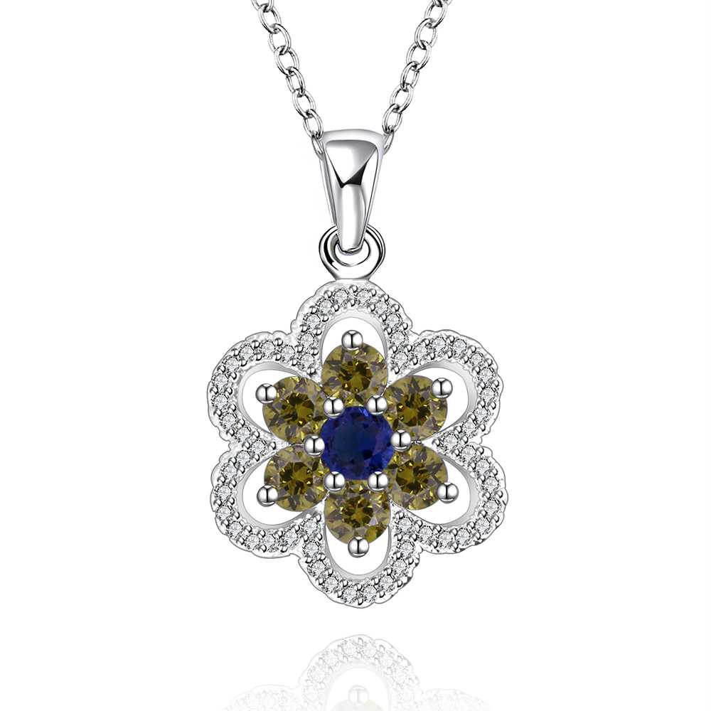 Free Shipping!!Wholesale 925 Silver Necklace & Pendant,Fashion Sterling Silver Jewelry,gree and blue stone Necklace SMTN557(China (Mainland))