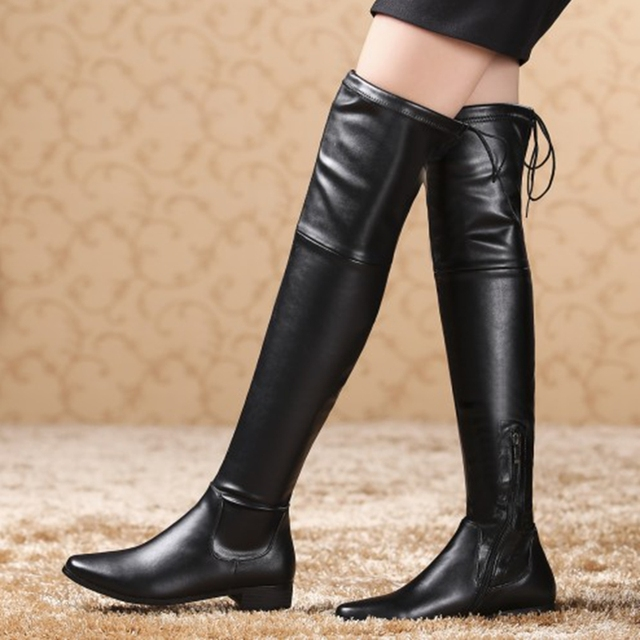 Over The Knee Leather Boots For Women - Boot Hto