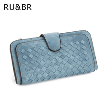 Buy RU&BR Fashion 2 Fold Long Wallet High-Grade Hand-Woven PU Leather Wallets Large-Capacity Multi-Card Bit Hasp Women's Wallet for $11.63 in AliExpress store