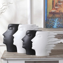 modern minimalist white and black head shape flower vase home accessories new house decoration abstract human head ornaments(China (Mainland))