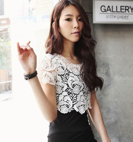 Vivi 004 spring and summer women's false collar cutout crochet cape collar waistcoat short design shirt 85g