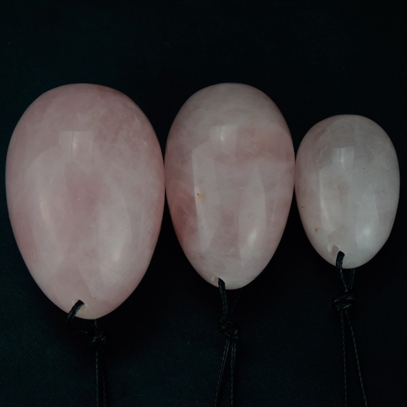 Jade Egg 3 pcs Drilled Natural Rose Quartz  Yoni Eggs for Women Kegel Exercise Pelvic Muscle Vaginal Tightening Body Massage