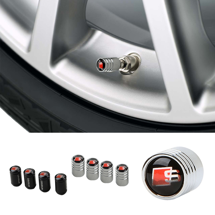 Metal Car Air Valve Caps Tire Wheel Rim Trims Embelm Logo Cover For Audi A4 A1 A2 A3 A6 RS4 S4 Q3 Q5 Q7 TT A8 A4L S LINE Styling
